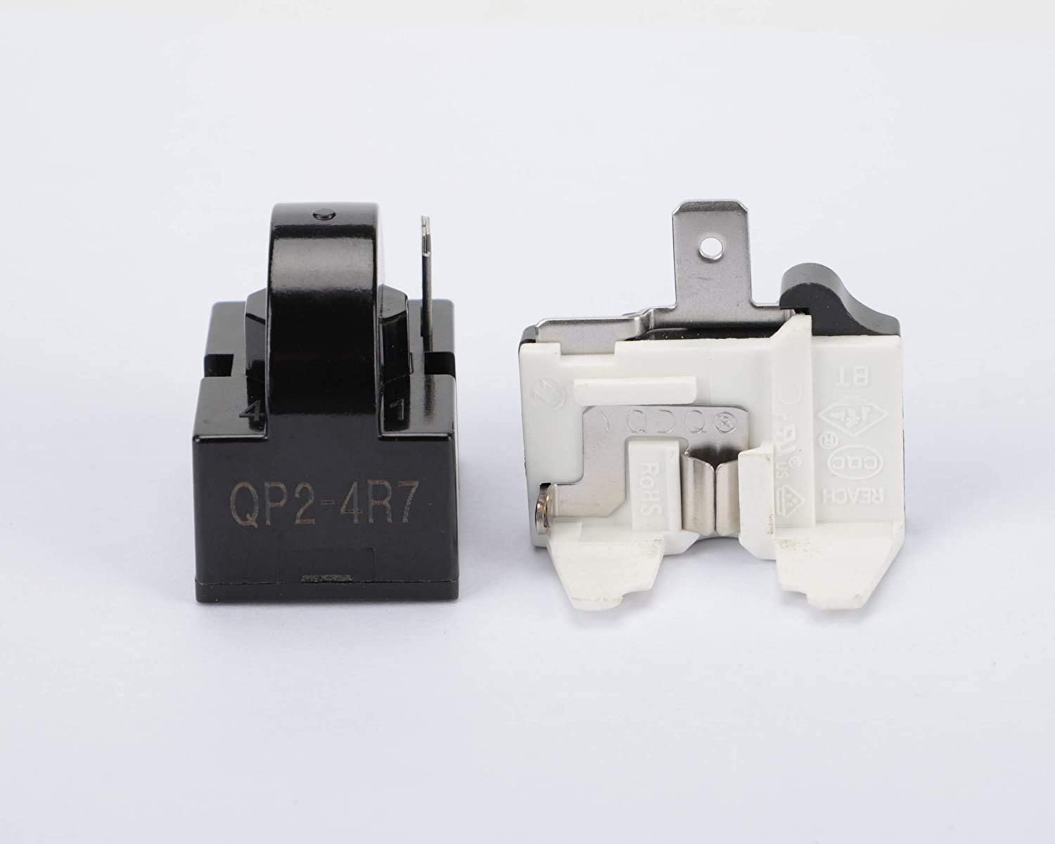 1Pcs QP2-4R7 1Pin 4.7 Ohm PTC Refrigerator Starter/Start Relay for Vissani Danby Compressor Relay and 1Pcs Refrigerator Overload Protector 1/2HP,