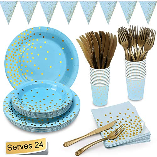 Blue and Gold Party Supplies Golden Dot Navy Themed Party Set Includes 7