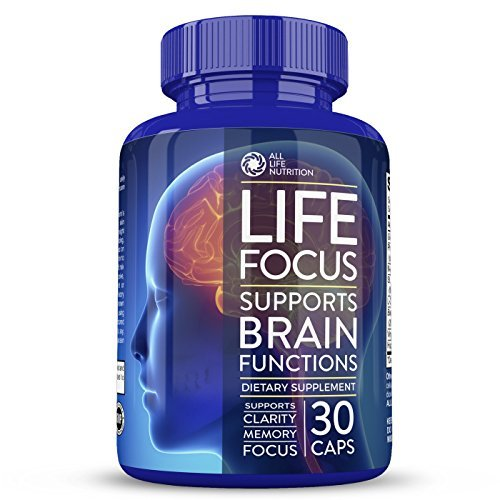 Life Focus - With Ginkgo Biloba And Saint John's Wort - Natural Brain Supplement & Mood Enhancer - For Brain Health - 30 Capsules - By All Life Nutrition