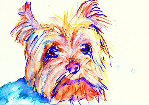 Yorkshire Terrier Art, Colorful Modern Yorkie Home Decor, Yorkshire Terrier Print, Yorkie Owner Gift, Yorkshire Terrier Painting, Yorkie Mom Abstract Dog Decor Hand Signed by Oscar Jetson ()