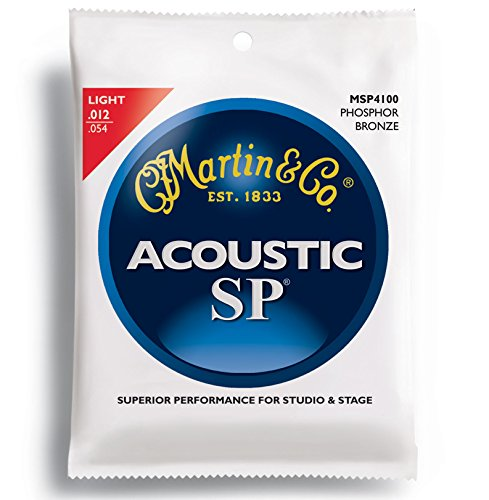 Martin MSP4100 SP Phosphor Bronze Acoustic Guitar Strings, (Martin Msp4100 Light)
