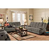 Cheap Cambridge 98501DRL-CC Penn Double Reclining Loveseat, Charcoal Living Room Furniture