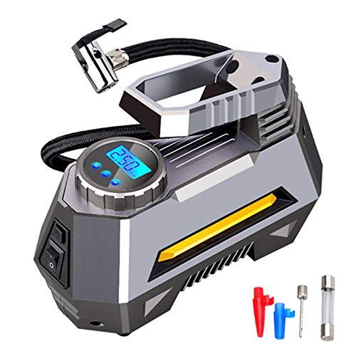 Compressore Portatile Per Auto,120W Dc12V Mini Compressore Portatile,Preselezione E Spegnimento Automatico Manometro Digitale E Adattatori Ugelli