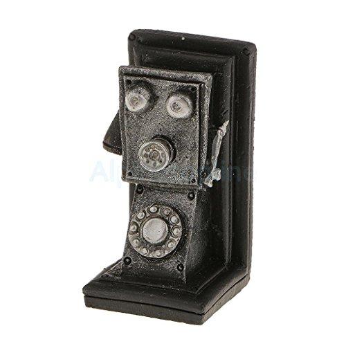Kids Novel Mini Resin Wall Set Telephone Landscape Miniature Model Toy Black by alpinetopline