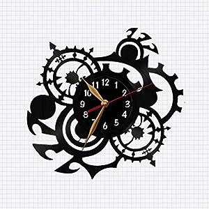 Steampunk, Cogwheel, Vinyl Record Wall Clock, Modern, Black Wall Art Decor, Gift Idea (Black clockface, Arabic digits, Gold-colored hands)