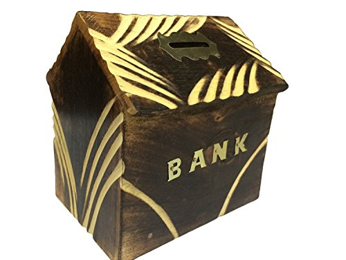 Valentine Day Special Gift, Wooden Money Bank, Home Shape Piggy Bank, Hut Shape Coin Storage Bank, Piggy Bank for Girls & Boys, Brown Color Size 6 X 5.5 Inch
