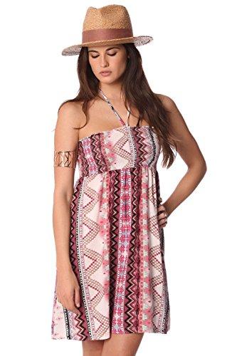 Q2 Women's Trägerloses kleid mit Aztekenprint und Neckholder-Trägern zum Binden