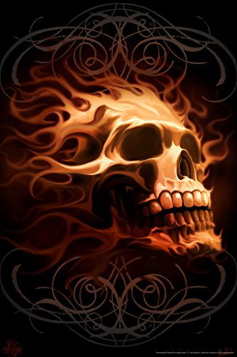 (Flaming Skull Tom Wood Fantasy Art Poster 12x18 inch)