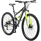 Schwinn Traxion Full Dual-Suspension Mountain Bike, Featuring 18-Inch/Medium Aluminum Frame and 29-Inch Wheels with Mechanical Disc Brakes, 24-Speed Shimano Drivetrain, Matte Grey/Neon Green