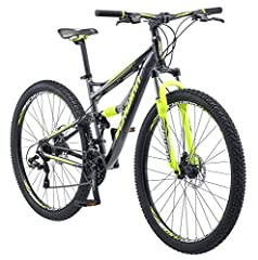 """Zoom down hills and rip through gnarly trails on the 29"""" Schwinn Traxion, a mean full suspension mountain bike that's itching to get out and go. Featuring an aluminum dual suspension frame with a powerful Schwinn suspension fork and reliable ..."""