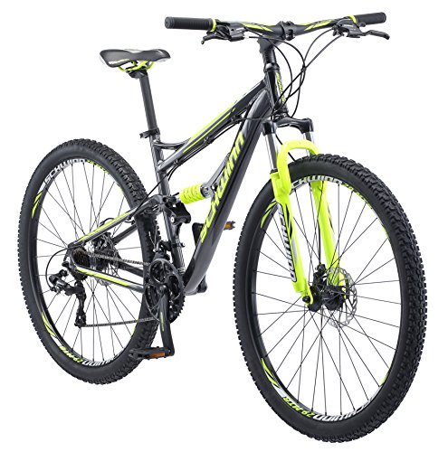 Schwinn Traxion Full Dual-Suspension Mountain Bike, Featuring 18-Inch/Medium Aluminum Frame and 29-Inch Wheels with Mechanical Disc Brakes, 24-Speed Shimano Drivetrain, Matte Grey/Neon Green ()