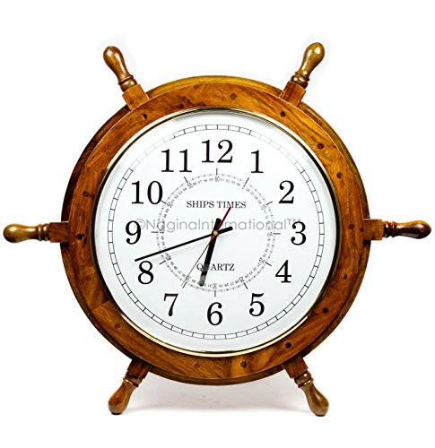 Nagina International Nautical Hand Crafted Wooden Ship Wheel with Quartz Times Wall Clock – Pirate Nursery Home Decor 24 Inches, White Dial Face