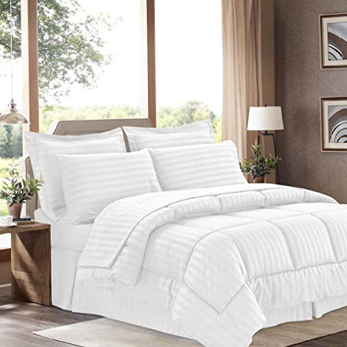 Hemau Premium New Soft 8 Piece Bed in A Bag with Dobby Stripe Comforter, Sheet Set, Bed Skirt, and Sham Set - King - White | Style ()