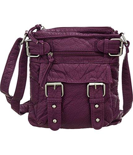 Purple-Berry Laure&Sunset ''Buckles Swingpouch'' Crossbody Bag