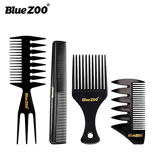 BlueZOO 4PCS Salon Barbers Combs Set Hair Extensions Styling Detangling Comb for Slicked-back Undercut Mohawk Bowl Cut Quiff