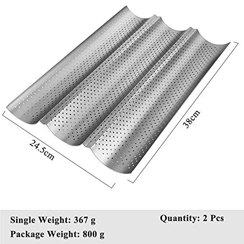 Baguette Backblech für 3 Baguettes, Baguetteform mit Antihaftbeschichtung 38 x 24,5 cm, Baguette-Blech, Backform (1er, Silber)