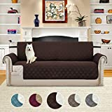 H.VERSAILTEX Soft Smooth Quilted Quick Drape Reversible Faux Suede Plush Furniture Cover Elastic Straps, Prevent Stains/Spills Protector Sofa, 75 inch X 110 inch (Sofa - Brown/Beige)