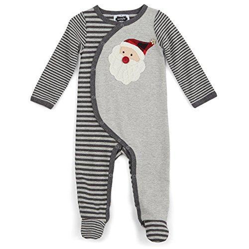 - Mud Pie Baby Holiday Footed One Piece Sleeper, Santa Gray Stripe, 3-6 Months