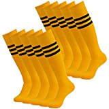 3street Unisex Cushion Over Knee Length Stripe Soccer Sport Athletic Crew Sock Orange+Black Stripe 10-Pairs, one size fits all