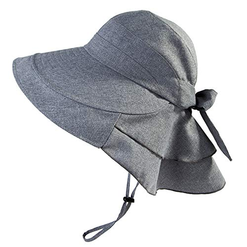 Jeff & Aimy Summer Ladies UPF 50 Sun Hats for Women Wide Brim Packable with Neck Protection Chin Strap Adjustable
