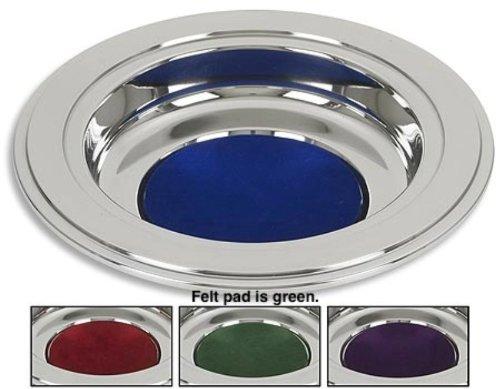 (Silver Tone Offering Plates (Green Felt Pad))