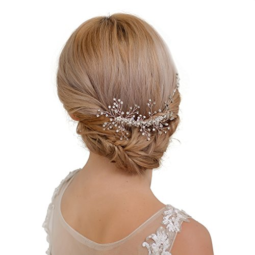 azaleas Wedding Haipiece Hairband Hair Pin Accessory Bridal Hair Vine Ribbon Headband (HP15-Silver) ()