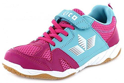 Lico Sport VS Kindersportschuh, Hallensport, Kita, Schule, Kombi aus Klettverschluss und Schnürschuh, Mädchen Pink