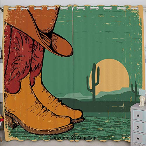 Justin Harve window Desert Landscape Vintage Boots and Hat Grungy Old Display Cowboy Decorative Bedroom Blackout Curtains Set of 2 Panels(84