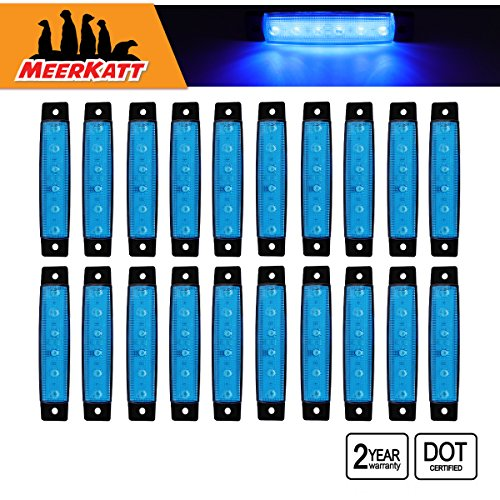 Meerkatt (Pack of 20) 3.8 Inch 6 LED Blue Side Indicators Marker Bright Waterproof Clearance Lamp License Decoration Tail Fender Rear Light Bus Truck Caravan Lorry Trailer Ambulance 12v DC Model TK12