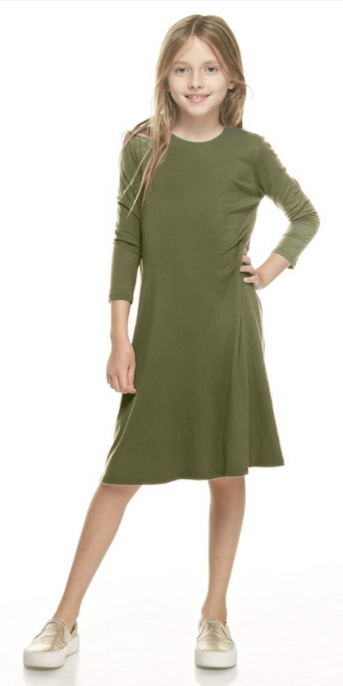 Tabeez Girls Flared 3/4 Sleeve A-Line Jersey Trapeze Dress with Pockets (Medium (6-7), Olive)