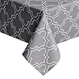 Eforgift European Home Hotel Polyester Table Cover Oblong 60'' by 120'' with Charcoal Quatrefoil Floral Art Tablecloths Spill Free Anti-bacterial & Machine Washable, Perfect Indoor Wedding Accessories