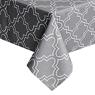 UFRIDAY Grey Tablecloth 52-Inch x 52-Inch Spill Proof, Printed Table Cloth Square Tables - Made of 100% Polyester- durable, water-repellent and spillproof Adds classic, traditional elegance, perfect for every day use Stain-resistant and oil-proof, machine washable with gentle cycle - tablecloths, kitchen-dining-room-table-linens, kitchen-dining-room - 510V8pQdO%2BL. SS400  -