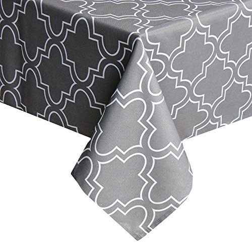UFRIDAY Grey/Gray Tablecloth 52-Inch by 70-Inch, Fabric Table Cloth with Pattern Printed Stain Resistant