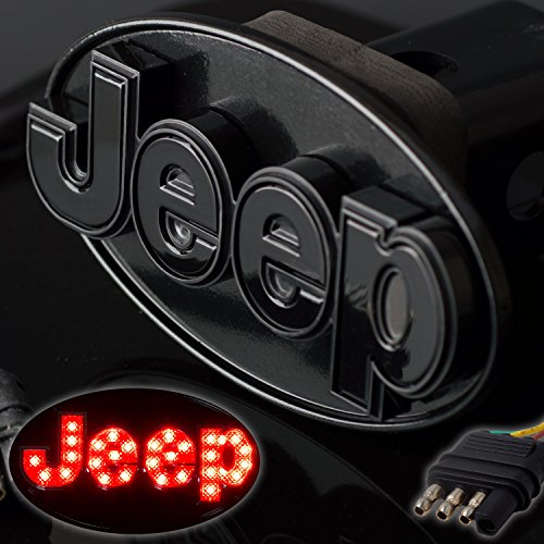 Jeep Hitch Cover Licensed LED Light Trailer Towing Hitch Cover Receiver Black 6533