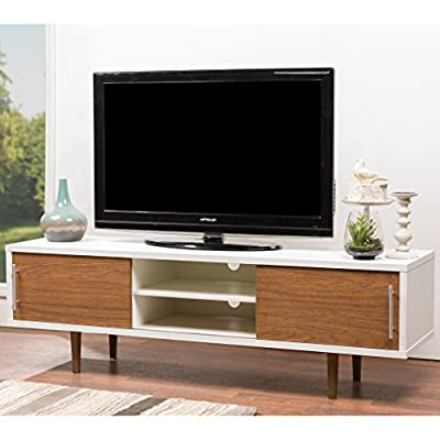 Baxton Studio Gemini Wood Contemporary TV Stand, White - Contemporary TV stand. Dimensions Overall: 66 inches W x 17.75 inches D x 20.5 inches H Engineered wood frame White and walnut 2 tone faux wood grain paper veneer - tv-stands, living-room-furniture, living-room - 510V8xOS16L. SS400  -