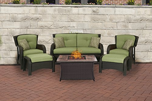 Hanover STRATH6PCFP-GRN-WG 6 Piece Strathmere Lounge Set In Cilantro Green with Fire Pit Table For Sale