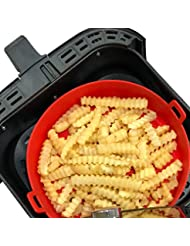 WaveLu Air Fryer Silicone Pot - [UPGRADED] Food Safe Air fryers Oven Accessories   Replacement of Flammable Parchment Liner Paper   No More Harsh Cleaning Basket After Using Airfryer (5 QT or bigger)