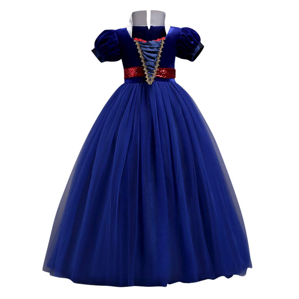 Sameno Toddler Kids Girls Princess Maxi Tulle Lace Dress Cosplay Pageant Party Evening Ball Gown Costume 3-14t Blue by SamXmasBaby