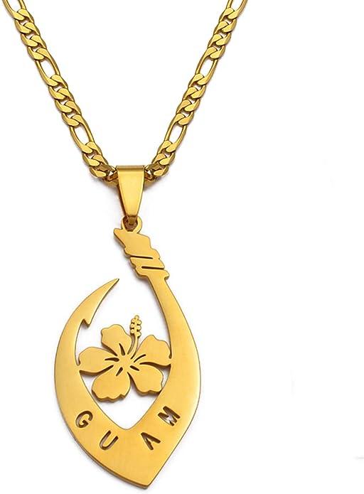 Hibiscus Flower Guam Pendant Necklaces For Women Men Gold Color Guam Jewelry Gifts 60Cm | Amazon.com