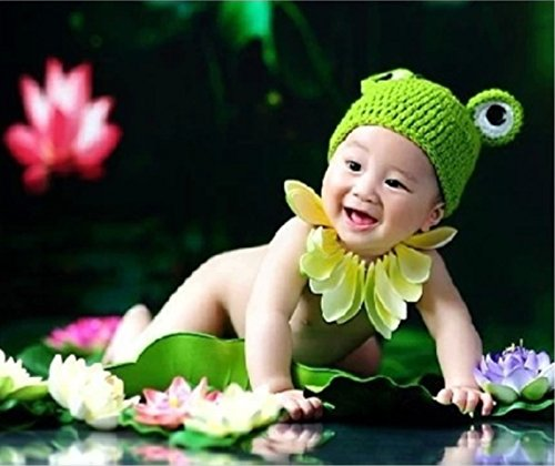 [Newborn Baby Cute Knit Crochet Outfit Girls Boys Soft Costume Frog Animal Hat] (Girls 70s Costume)