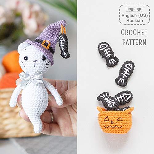 Halloween Ghost Cat PATTERN, crochet Boo, pumpkin basket and fish skeleton tutorial