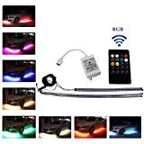 Ralbay 4pcs RGB Remote Control LED Undercar Neon Strip Underbody Under Car Body Light Kit, Car Chassis Atmospher Strip Light Waterproof Soft Glow Flashing Lamp For Car Decoration(60-90cm)