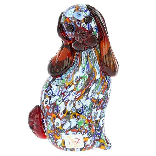GlassOfVenice Murano Glass Millefiori Dog Sculpture