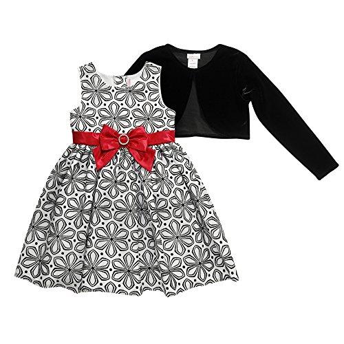 Youngland Little Girls' Glitter Print Mesh Dress with Car...