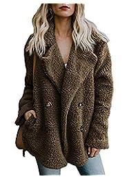 AUDATE Women's Faux Fur Jacket Fuzzy Lapel Fleece Outerwear with Pockets