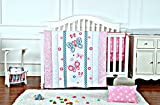 Pink Butterfly Baby Crib Bedding Set for Girls with matching Crib Bumper, Comforter & Crib Sheet