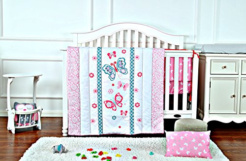 Butterfly Crib Sheet Set (Butterfly Crib Bedding Set for Girls with Crib Bumper, Comforter & Bed sheet)