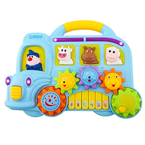 Animal Sounds Toddler - Musical Piano Toy, Zooawa Car Music Fun Animal Electronic Keyboard with Lights and Sounds, Educational and Learning Toy for Kids and Toddlers - Colorful