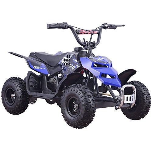 Four Wheelers For Kids 24V Blue Mini Quad ATV Dirt Motor Bike Electric Battery Powered