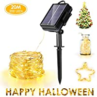 Haofy Solar Powered Sixrun 200 LED Light 75ft Waterproof Copper Wire Lights for Outdoor